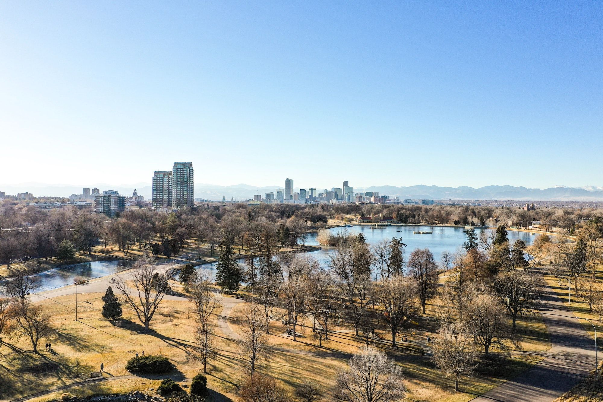 bare trees in next to a lake overlooking Denver, CO_best corporate retreat destinations_flok