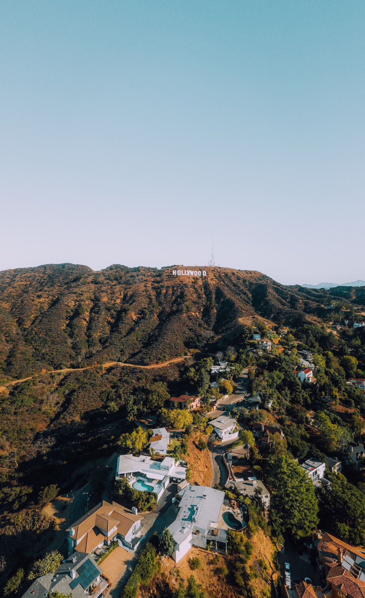 Arial view of Hollywood sign and hills_best corporate retreat destinations_flok