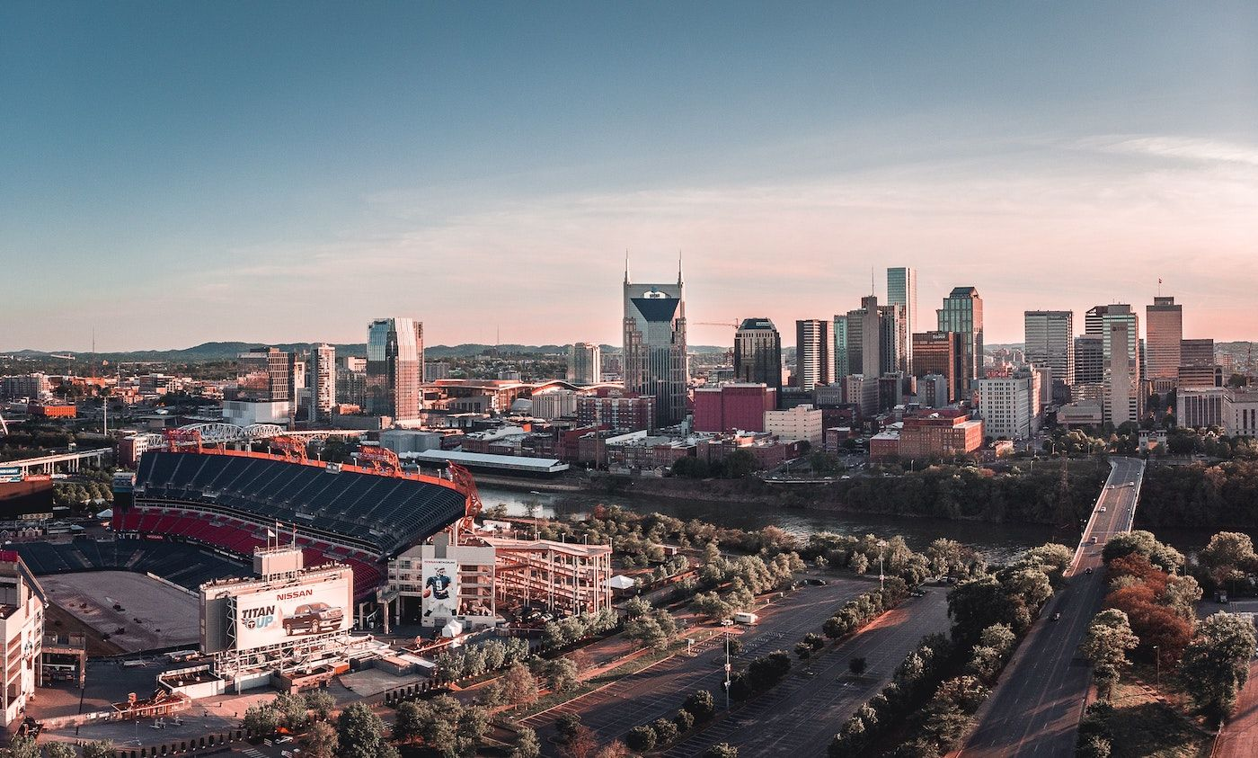 aerial view of Nashville skyline_best corporate retreat destinations_flok